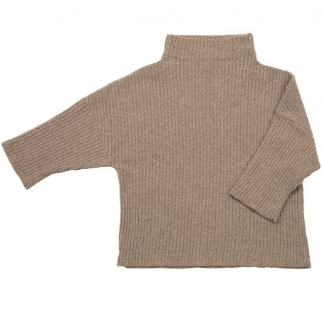Cable knit lounge sweater, M camel brown