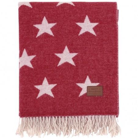 Allover star throw torkkupeitto 130x180cm, dark red
