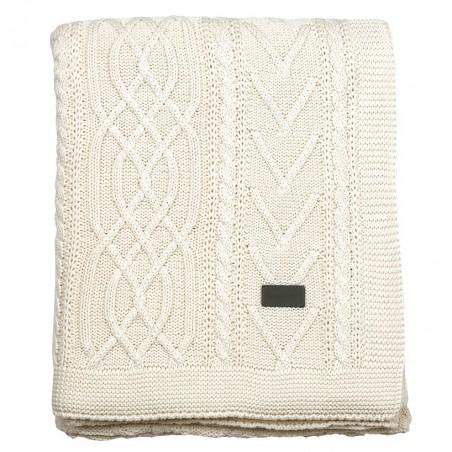 Fisherman knit throw torkkupeitto 130x170cm, eggshell