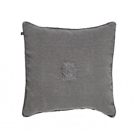 Washed linen embroidery tyynynpäällinen, dark grey melan
