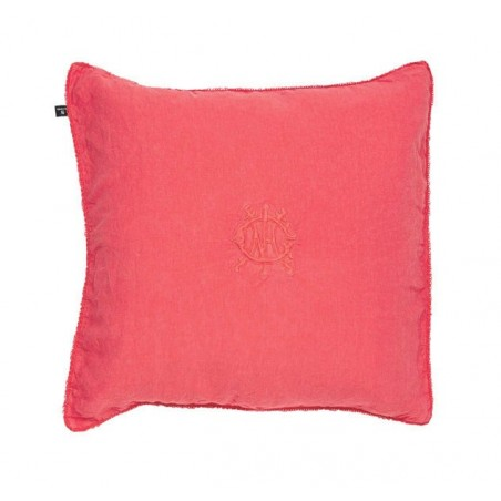 Washed linen embroidery tyynynpäällinen, pale red